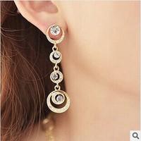 2014 Fashion Long Water Drop Rhinestone Earrings For Women High Quality Sweet Girl Dangle Earrings  ED075