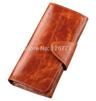 "Free Shipping! Fashion Women Genuine Leather Purse Wallet High Capacity Lady 7"" Long Handbag Clutch #008, 8 Colors"