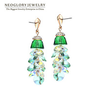 Neoglory  Rhinestone Crystal Rose Plated Drop Earrings For Women 2014 New Jewelry Accessories Hot