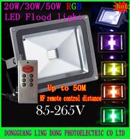 New styles 4pcs/lot 20W 30W 50W 90W RGB LED Flood Light 50M Ultra-long RF remote control 16 Color Floodlight Waterproof 85-265V