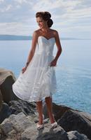 2014 Simple Tulle Sweetheart A-line Beach Tea- length Wedding Dresses Bridal Dresses zipper Custom Made SB020