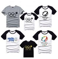 2014 New Hot Pattern Men's T-shirt Russia Sochi Olympics Rings Flourishing Snow Tops Sport Shirts 14 Styles Plus Size