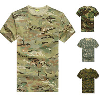 Military Tactical Airsoft Hunting Training Camo T-shirt Cycling Camping Running Tees Men's Summer Excerise Tops Multicam