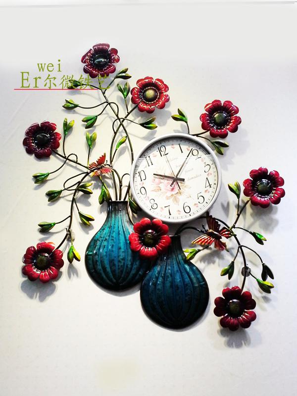 Metal forjado muro de ferro relógio / relógio de moda europeus / desenho colorido ou padrão relógio / presente / decoração para acessórios(China (Mainland))