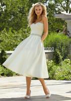 2014 Elegant Satin Beading Sweetheart A-line Tea-length Wedding Dresses Bridal Dresses  Maternity Backless Custom Made SB017