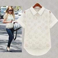 2014 Lace Blouse Peplum Tops Sheer Shirts Spring & Summer Clearance Women Casual Sleeveless dresses shirt Blusas Plus Size M122