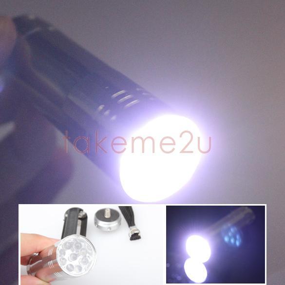 New Silver Mini Flashlight 9 LED Small Hand Torch KK#Y(China (Mainland))