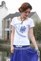 2014 Summer New Women's Fashion Classic Blue and White Short-sleeved T-shirts Ethnic Free Size 10059- Free Shipping