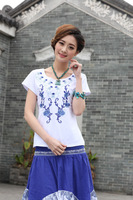 2014 Summer New Women Slim Blue Embroidered Ethnic Style Summer Women's Short-sleeved T-shirt 10061- Free Shipping