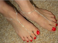 1Pair handmade crystal beads Toe Ring Ankle Bracelet Chain Beach foot JEWELRY free shipping
