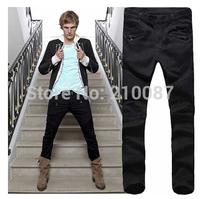 2014 new zipper decoration eagle heavy motorcycle models Slim Men's black Jeans