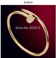 Fashion Rhinestone Nail Bracelet  Stainless Steel Gold Plated Bangle For  Women  Man Cuff  Bracelets & Bangles  2014 Jewelry