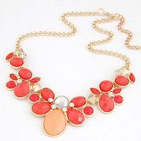 2014 New Fashion Big Flower Imitation Gemstone Jewelry Statment Necklaces Pendants Crystal Collier for Women men jewelry Joyas