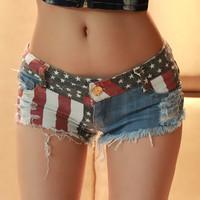 Summer New 2014 Women Short Pants Mini Sexy Jeans Pant Nightclub Bar Women Slim Flag Denim Shorts Plus Size Free Shipping Z411
