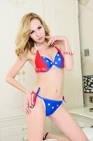 Free Shipping Drop shipping Factory Wholesales national flag Bikini Fashion Swimsuits 1430G