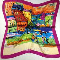 Free Shipping! 100% pure silk  Scarf , 90cm*90cm square scarves,silk warp brand