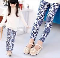 2014 NEW Spring Children's Floral Printing Leggings Girl's Blue legging 100-140cm Height Pencil Pant Trousers,baby girl leggings