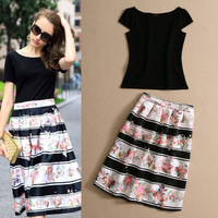 2014 Summer new arrival women's high quality black top and silk print skirt casual set