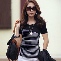 Free shipping!2014 summer new Korean Slim striped blouses ladies summer spring women's short-sleeved cotton shirt bottoming