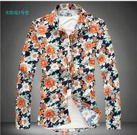 In the spring of 2014 new style flower pattern printing Hawaiian shirt men long sleeve shirt men shirts