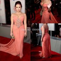 Vestidos De Fiesta Elegant Mermaid Ruched Long Chiffon Coral Celebrity Dress beaded Evening Dresses