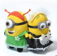 25CM 3D Despicable ME 2 Movie Plush Toy 9Inch Minions Maid outfits + green apron Stuffed & Plush Animals