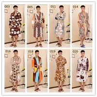Free Shipping Brand Flannel Warm Bathrobe Men Kimono Robe Bath Gown Leopard Print Pajamas Nightgown Housecoat Home Clothes A0239