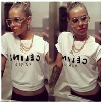 2014 new women clothes women t shirts brand cotton T-shirt women velvet letter print T shirt Top Tee