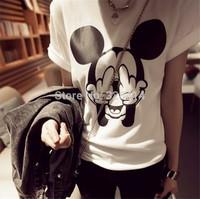 New 2014 Women t-shirts Short Sleeve Cotton Cartoon Mickey Mouse O-neck Striped tshirt Fashion Female t shirt