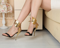 Branded Hot Sale Women High Heel Sandals New Designer 2014 Spring Women sandalias Gold Butterfly Women Pumps Party Shoes