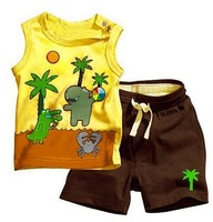 boy's Suits boy's sport suits Boy's vest suits baby Coconut trees vest + shorts suits free shiiping