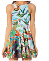 2014 New Arrival Skater Dress Sexy Birds Mini Galaxy Printed Sundress Vintage Dress Dresses 6070514