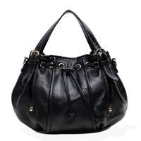 women shoulder bag leather fashion vintage drawstring bag black handbag famous designer bags 2014
