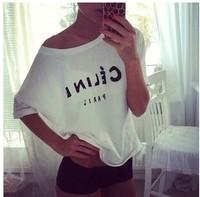 2014 Fashion Printing T shirt For woman White Black Shorts Tops & Tees cotton T-Shirt good quality wholesale