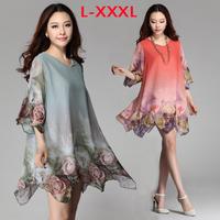 XXXL Plus Size Half Sleeve Floral Printing Chiffon Dress Loose Casual Shirt Chiffon Blouse 2014 Summer Autumn Nes Women Clothing