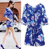New Fashion Summer Brand Jumpsuit Women's Casual Overalls Half Sleeve Jumpsuits & Rompers Blue Flower Cruzeiro Esporte Clube