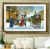 High Quality Cross Stitch Kits Paris Street Snow Winter Your Best Choice