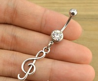 Free Shipping 10pcs/lot  BJ00642 alloy treble clef sign charm belly button ring women piercing body jewerly