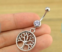 Free Shipping 10pcs/lot  BJ00643 alloy life of tree charm belly button ring women piercing lingerie body jewerly