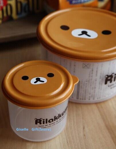 Color Random San-X Rilakkuma Bear Refrigerator Crisper Box Case Lunch BOX Food Container BOX Holder Fresh Keeper Storage Case(China (Mainland))