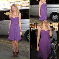 Celebrity dress Vestidos De Fiesta Sweetheart Ruched Spaghetti Straps Chiffon Lilac Cocktail Dress
