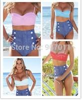 2014 European and American retro swimsuits wholesale sexy bikini swimsuit waist Polka Dot Lady sent free