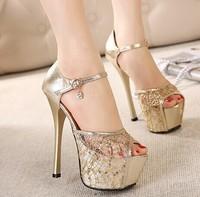 Fashion lace paillette open toe platform thin heels 15cm ultra high heels gold wedding shoes sandals J4614