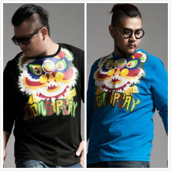 The new fashion men's T-shirt men jacket. Chinese wind fertilizer increased lion dance printed t-shirts free shipping(China (Mainland))