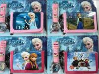 Frozen Anna Elsa Sets Watch and Wallet Purse Kids Fashion Quartz Cartoon Candy Boy Girl Woman Lady Children Watch 50pcs/lot