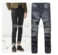2014 new knee-level folding motorcycle catwalk models Korean men's jeans