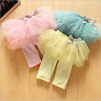 Retail hot sale baby girls summer leggings with tutu skirt kids princess bow Fifth pants yellow pink blue 607