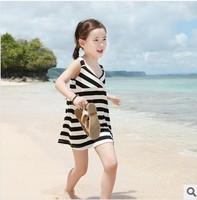 Tops Fashion Kids Girl Striped Dresses Bohemian Baby Girls Cotton Beach Dress Children Clothing Summer New 2014 Brand L30-5
