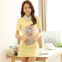 Wholesale Brand New 2014 Summer female Beading Organza Leaves Heat Press Lace Short-sleeve Zipper Women's dress Slim Plus Size