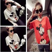 New 2014 Fashion tops  mouse shy T-shirt Women summer clothing set Free shipping